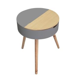 Table d'appoint coffre Scandinave - Diam. 45 cm - Gris