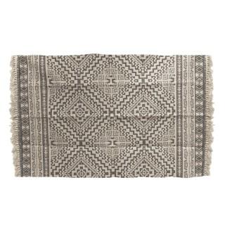 Tapis à franges losanges Ethnique - L. 140 x l. 200 cm - Beige