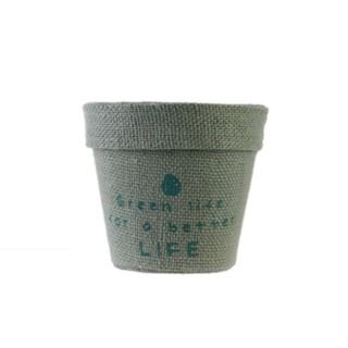 Cache pot en jute plastifié Little Garden - Diam. 9 cm - Gris