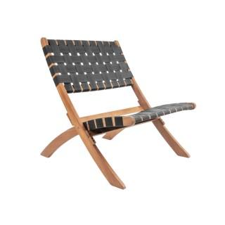 Chaise tropicale en bois Weave - Noir