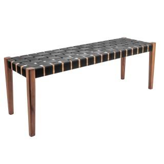 Banquette tropicale en bois Weave - L. 110 x H. 40 cm - Noir