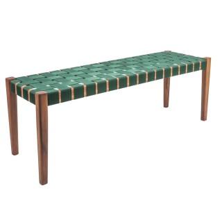 Banquette tropicale en bois Weave - L. 110 x H. 40 cm - Vert