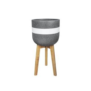 Cache-pot sur pieds en ciment Radius - Diam. 30 cm - Noir