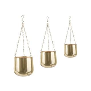 3 Cache-pots suspendus Cask - Doré