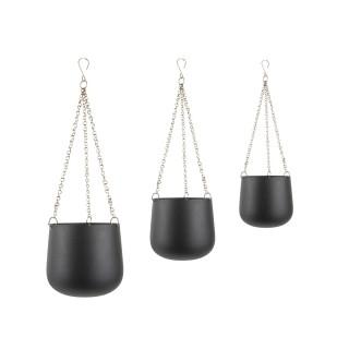 3 Cache-pots suspendus Cask - Noir