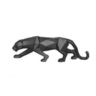 Statuette panthère Origami - H. 15 cm - Noir