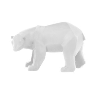 Statuette ours Origami - H. 18 cm - Blanc