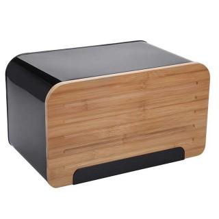 Boîte à pain en métal Lay Up - L. 35 x H. 21 cm - Noir