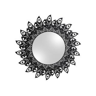 Miroir en métal filaire Plume - Diam. 60 cm - Noir