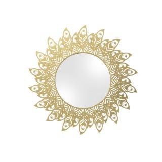 Miroir en métal filaire Plume - Diam. 60 cm - Doré