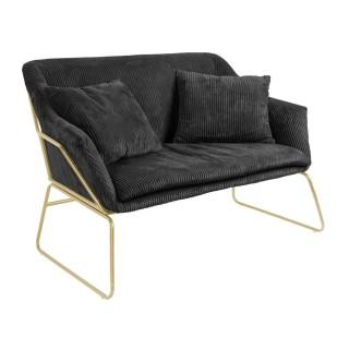 Canapé vintage en velours côtelé Glam - 2 Places - Noir