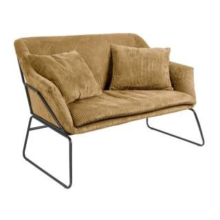 Canapé vintage en velours côtelé Glam - 2 Places - Marron