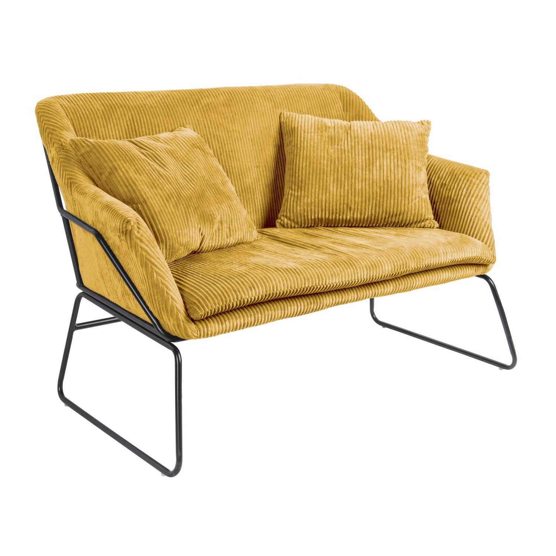 Canapé En Velours Cotelé canapé vintage en velours côtelé glam - 2 places - jaune