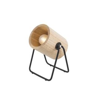 Lampe en bois et métal ronde Hefty - H. 17 cm - Marron