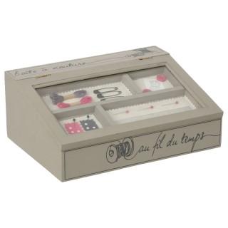 Boîte à couture en bois Pupitre - L. 28 x l. 11 cm - Beige