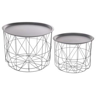 2 Tables gigognes filaires Mood - Diam. 43/53 cm - Gris clair