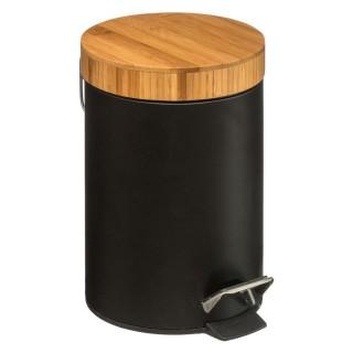 Poubelle à pédale en bambou Natureo - 3 L - Noir