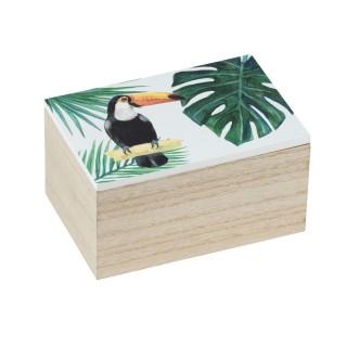 Boîte de rangement tropicale Tucan - L. 10 x H. 8 cm - Vert