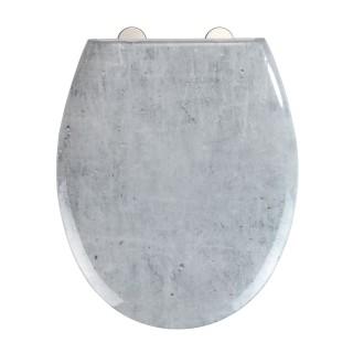 Abattant WC effet marbre Concrete - Abaissement automatique - Duroplast - Gris
