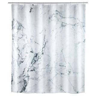 Rideau de douche effet marbre Onyx - Polyester - 180 x 200 cm - Blanc
