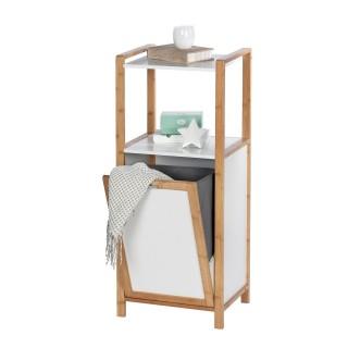 Etagère de salle de bain en bambou avec panier à linge Finja - L. 40 x H. 95 cm - Blanc