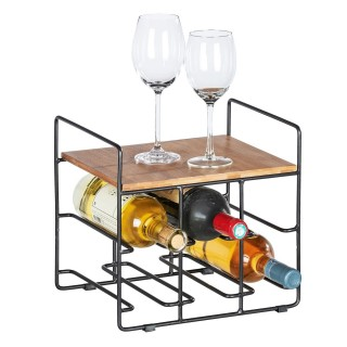 Etagère casier à bouteille de vin indus Loft - L. 30 x H. 27 cm - Noir