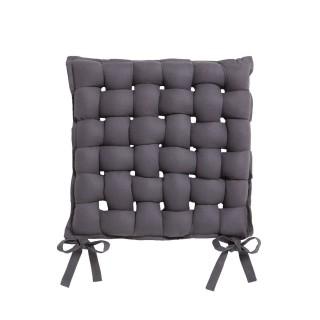 Galette de chaise Tressée - 40 x 40 cm - Gris foncé