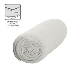 Drap housse Chantilly - 100% coton 57 fils - Bonnet 30 cm - 140 x 200 cm - Blanc
