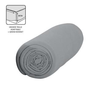 Drap housse Zinc - 100% coton 57 fils - Bonnet 30 cm - 140 x 200 cm - Gris clair