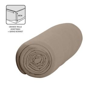 Drap housse Mastic - 100% coton 57 fils - Bonnet 30 cm - 180 x 200 cm - Taupe