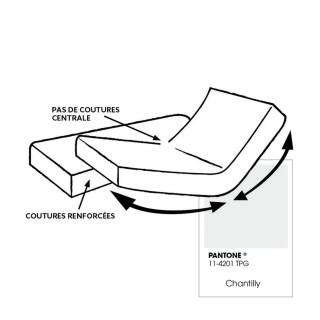 Drap housse pour lit articulé - 100% coton - Bonnet 30 cm - 2x80 x 200 cm - Blanc