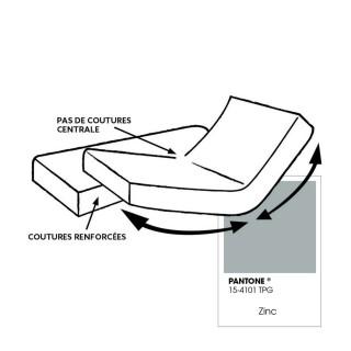 Drap housse pour lit articulé - 100% coton - Bonnet 30 cm - 2x80 x 200 cm - Gris clair