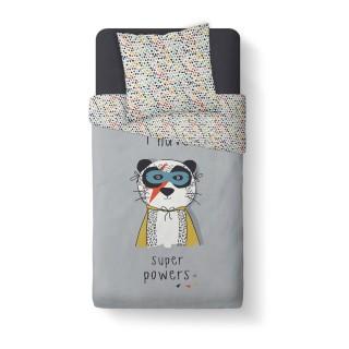 Parure de couette enfant Powers - 100% coton 57 fils - 140 x 200 cm - Gris