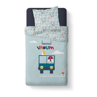 Parure de couette enfant Vroum - 100% coton 57 fils - 140 x 200 cm - Bleu