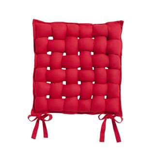 Galette de chaise Tressée - 40 x 40 cm - Rouge pomme d'amour