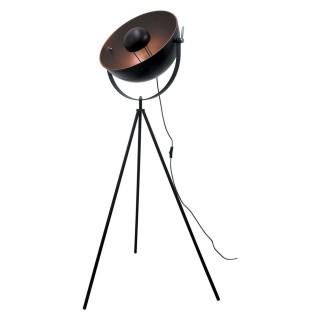 Lampadaire trépied en métal Cinéma - H. 145 cm - Noir et cuivre