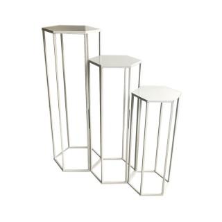 3 Portes plantes sellettes design Théo - Blanc