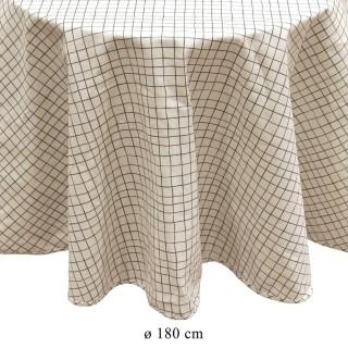 Nappe ronde quadrillage vintage Little Market - Diam. 180 cm - Blanc