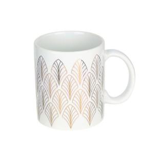 Mug design feuille Art Déco - 300 ml - Blanc