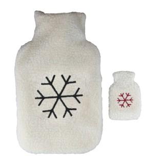 Bouillotte en laine brodée avec chaufferette flocon Winter - 2 L - Blanc