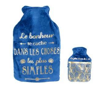 Bouillotte avec chaufferette design Art Déco - 1 L - Bleu
