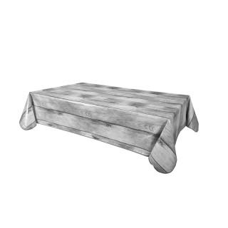 Nappe en toile cirée rectangulaire effet bois Planche - L. 140 x l. 200 cm - Gris