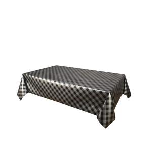 Nappe en toile cirée rectangulaire vintage Vichy - L. 140 x l. 240 cm - Noir