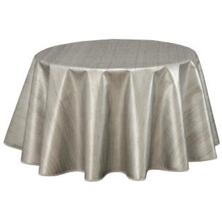 Nappe en toile cirée ronde design Métal - Diam. 150 cm - Argent