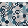 Crédence adhésive carreaux en aluminium Exa - L. 20 x l. 20 cm - Bleu