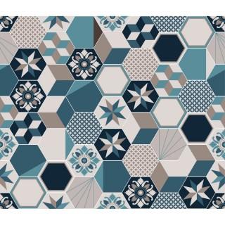 Crédence adhésive carreaux en aluminium Exa - L. 70 x l. 60 cm - Bleu