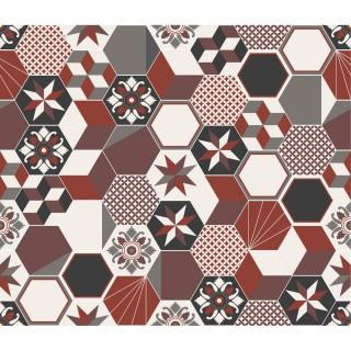 Crédence adhésive carreaux en aluminium Exa - L. 70 x l. 60 cm - Rouge