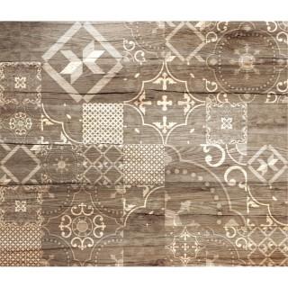 Crédence adhésive en alu imitation Bois - L. 70 x l. 60 cm - Marron