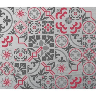 Crédence adhésive en alu Carreaux de ciment - L. 70 x l. 40 cm - Gris