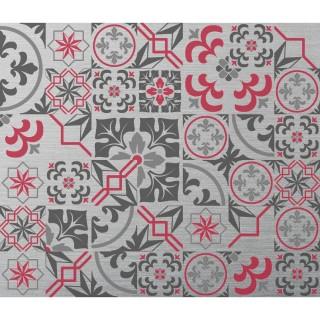 Crédence adhésive en alu Carreaux de ciment - L. 70 x l. 60 cm - Gris